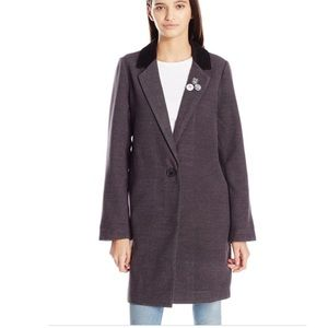 Obey Patti Corduroy Collar Trench Coat